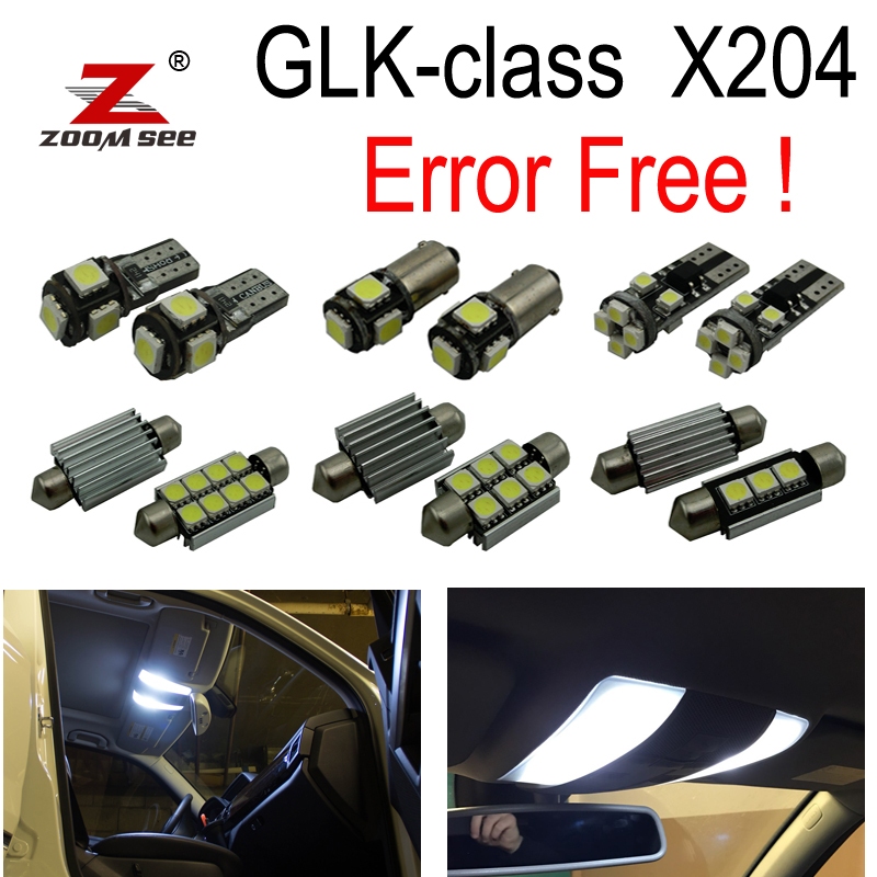 17pcs Error free LED Reading Lamp Interior dome Light Kit For Mercedes Benz GLK class X204 GLK300 GLK280 GLK250 GLK350 (09-15) 27pcs led interior dome lamp full kit parking city bulb for mercedes benz cls w219 c219 cls280 cls300 cls350 cls550 cls55amg