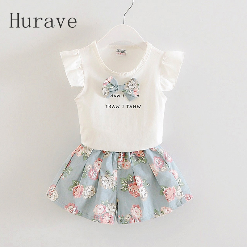 Hurave 2017 Girls Clothing Sets New Summer Fashion Style bow Printed T-Shirts+ pants 2Pcs Children Clothes Sets 2016 korean style cute girl printed sets children s clothes short t shirts pants 2pcs girls clothing retial 0 4t kids coat