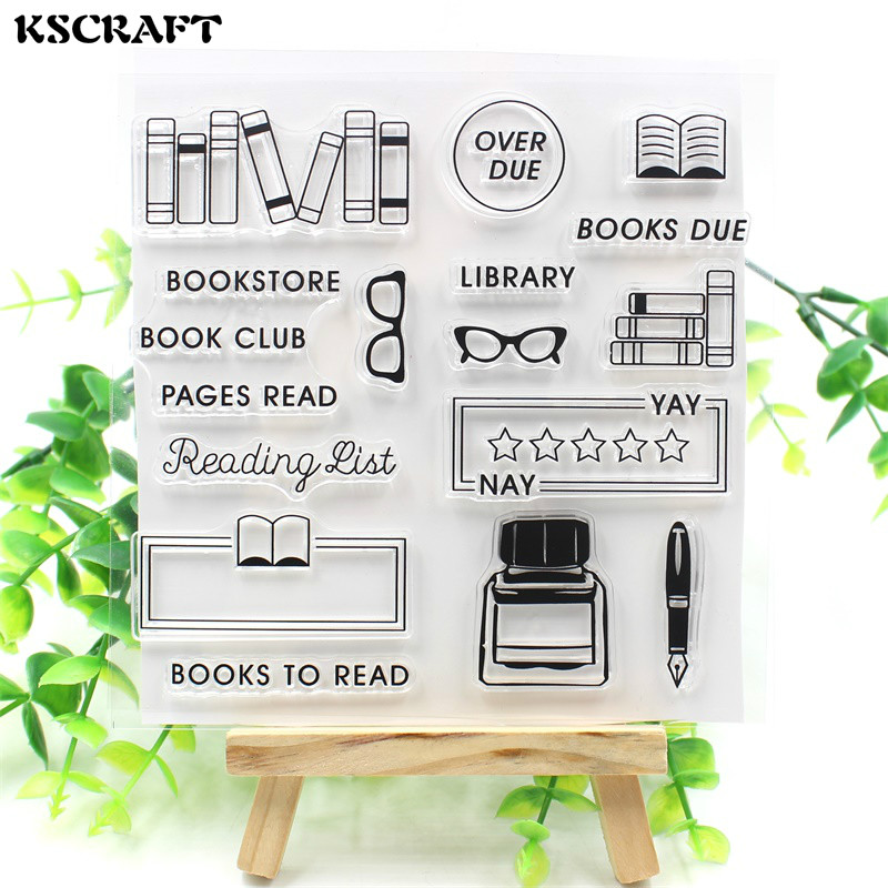KSCRAFT Book Club Transparent Clear Silicone Stamps for DIY Scrapbooking/Card Making/Kids Christmas Fun Decoration Supplies kscraft butterfly and insects transparent clear silicone stamps for diy scrapbooking card making kids fun decoration supplies