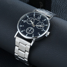 Mens Casual Blu-ray Watch Steel Strap Gift Quartz Fashion & Alloy No waterproof