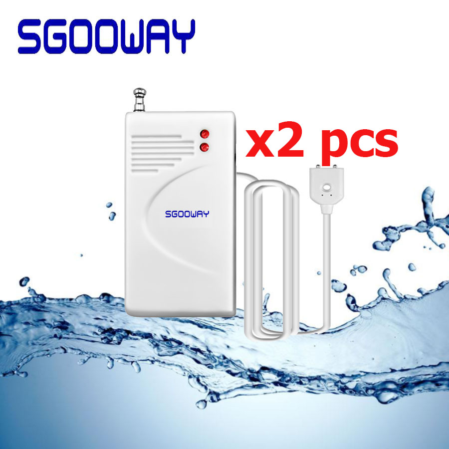 Sgooway 2pcs/lot 433MHz Wireless Water Leak Detector Sensor Water Leakage Detector Sensor For Wireless Gsm  PSTN WIFI Alarm