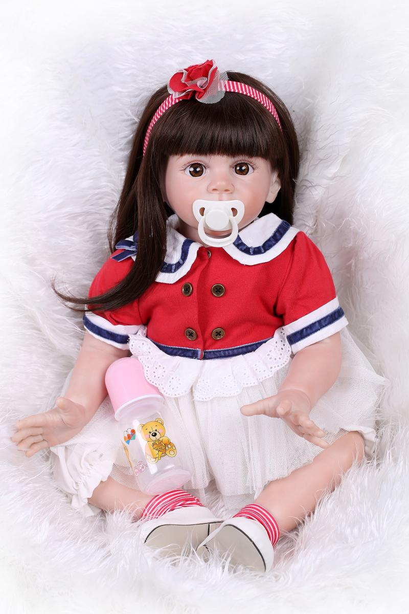 New bebe girl reborn 60cm silicone reborn baby dolls princess babies Pink cute for girls Toys gift Lifelike Newborn Doll Girl XM new real silicone doll reborn 22 blond hair newborn girl princess dolls for children gift can enter water bebe bonecas gift