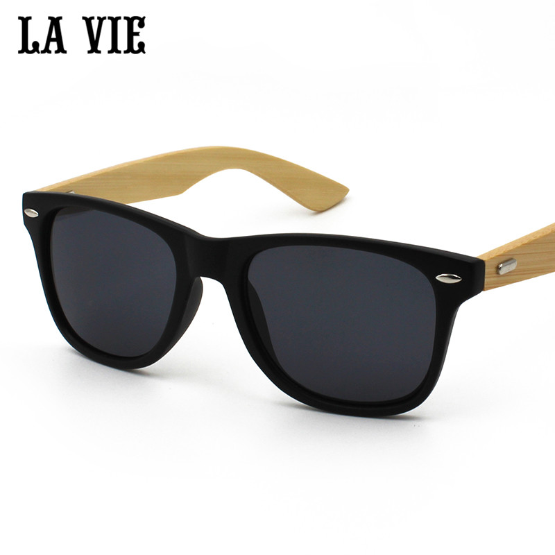 LA VIE Brand Retro Bamboo Wood Sunglasses Men Women UV400 Lunettes de soleil homme lentes de sol hombre colored lenses for eyes