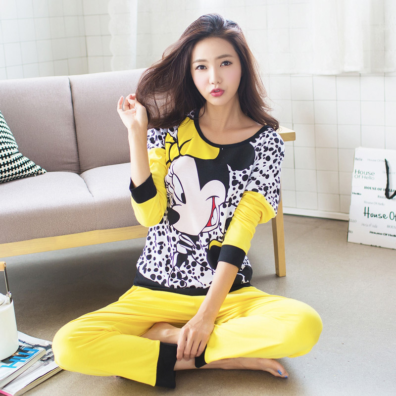 Wholesale Winter Spring Women Pajamas Animal Cartoon Print Pajama Sets Cotton Rayon Long Sleeve Korean Loose Sleepwear M-XL