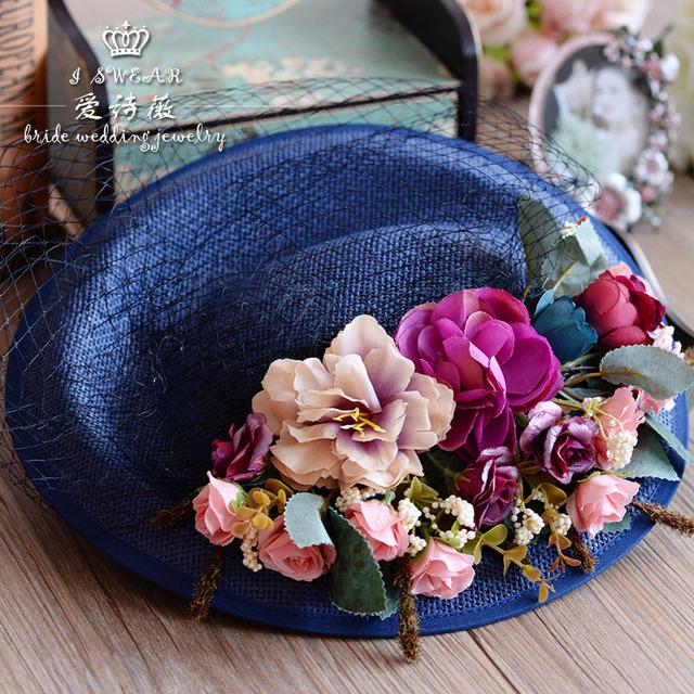 Chapéu De Casamento Flor Pena Tulle do vintage Europeu Birdcage Veil Headpiece Cabeça Acessórios Da Noiva Do Casamento Véu 2016 Barato Moderno