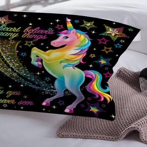 Image 3 - LOVINSUNSHINE zestaw pościeli dla dzieci pojedyncze pościel i zestawy pościeli tekstylia domowe jednorożec Cartoon piękny zestaw poszewek dla dzieci AB #98