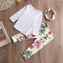 Autumn New Pullover Newborn Infant FashionToddler Baby Girls Tops Tops Long Floral Pants Headband Kids Outfits Clothes 0-3Y