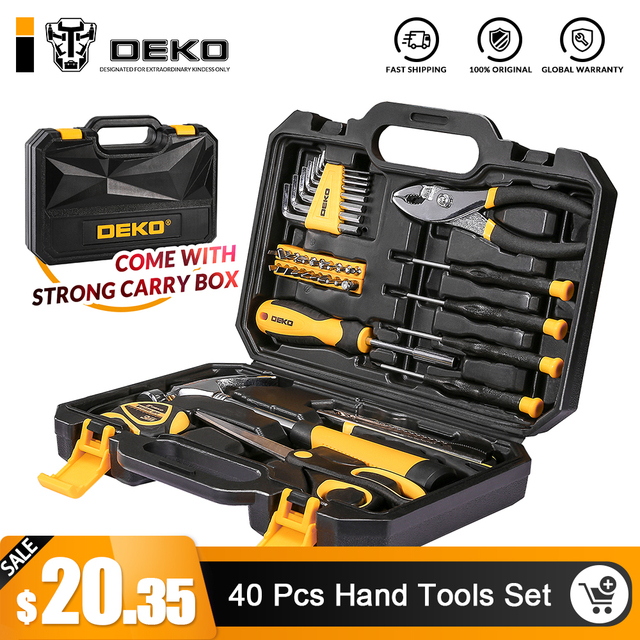 DEKO 40-Piece ручной набор инструментов общий бытовой ручной набор инструментов с пластиковым ящиком для хранения инструментов молоток плоскогубцы отвертка нож
