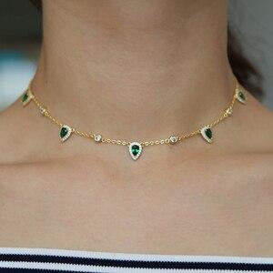 Image 5 - Bohemia 2018 altın rengi yeşil taş bildirimi zincir kolye gerdanlık moda takı kadınlar için elegance hediye şık takı