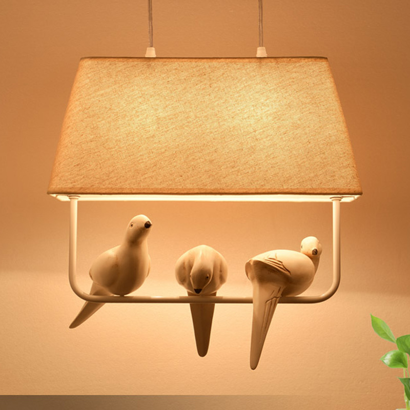 Modern pendant light bird hanging lamp with fabric shade led pendant lamp metal lighting fixtures for art deco bedroom kids room