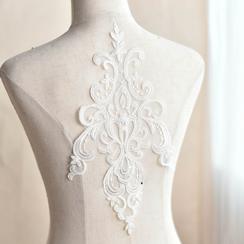 5 Pieces 35x19cm Embroidery Lace Applique DIY Apparel Craft Soft Mesh Off White Guipure Lace Fabric 2017 For Lace Material in Lace from Home Garden