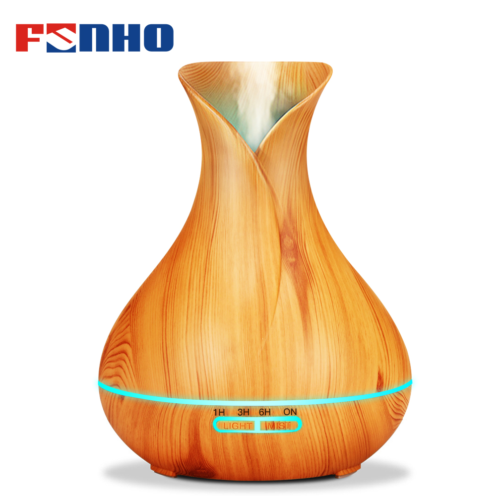 FUNHO 400ml Wood Grain Air Humidifier Aroma Diffuser Essential Oil Diffuser Humidificador 7 LED Night Light Change for Home 217(China)