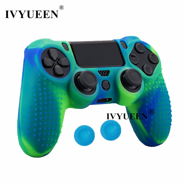 IVYUEEN Silicone Cover Skin for Dualshock 4 PS4 Pro Slim Controller Case and Thumb Grips Caps for PlayStation 4 Game Accessories 5