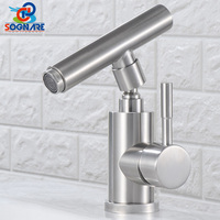 Contemporary Design Bathroom Sink Faucet Hot Cold Water Faucet Brushed Nickel Single Handle Bathroom Mixer Tap 304 Faucet Crane