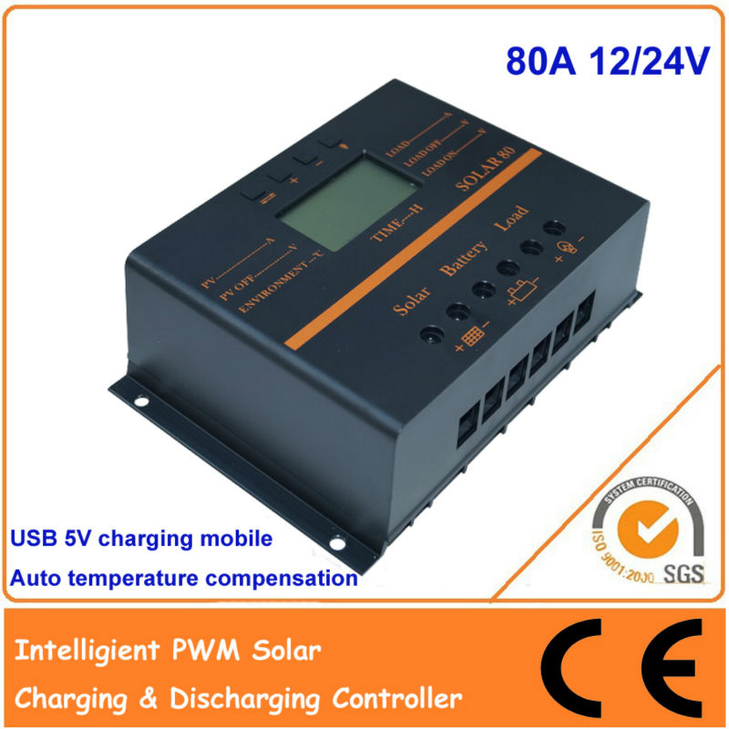 80A 12V 24V PWM Solar charge controller with LCD, USB 5V,communication, Auto Identification System &Temperature Compensation  vs3048bn 30a 24 48v auto pwm controller network access computer control can connect with mt50 for communication
