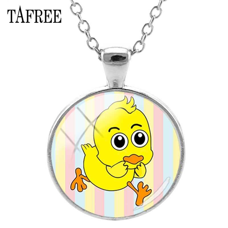 COLLAR COLGANTE de foto de pato de dibujos animados TAFREE collar de cabujón de cristal redondo gargantilla Chapado en plata para joyería de regalo de niña DU22