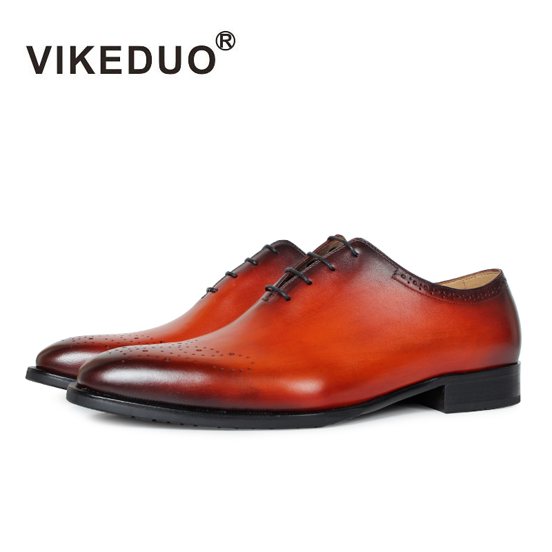 Vikeduo Handmade Vintage Brogue Shoes Brand Wedding Party Office Male Dress Shoe Genuine Leather Patina Men Oxford Zapato Hombre