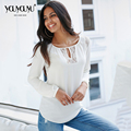 2017 Hot Sale Plus Size Mulheres Blusas Sensuais de Alta Qualidade Cor Sólida Mangas Compridas Lazer Moda Personalidade camisa Chiffon 1825