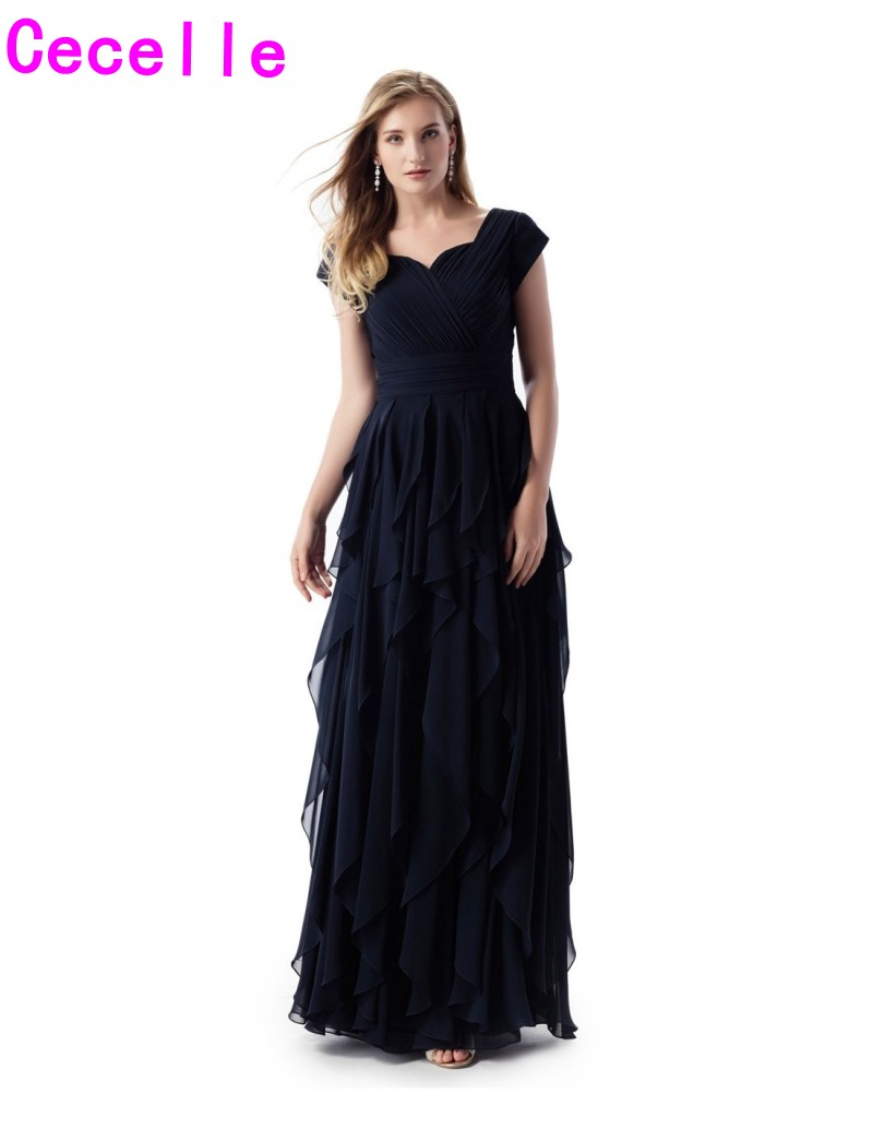Navy BlueRuched Chiffon A-line Long Modest   Bridesmaid     Dresses   With Cap Sleeves Sweetheart Ruffles Women Modest Party   Dress