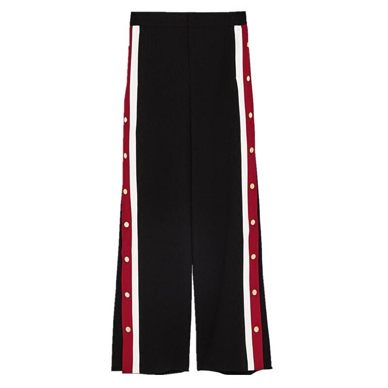 Эластичный высокой талии красный и белый в полоску с широким открытым и пуговицы свободные штаны