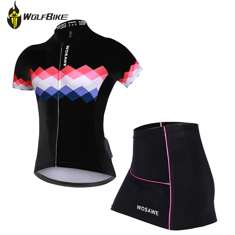 WOSAWE Summer Cycling Jersey+Mini Skirt Ropa Ciclismo Breathable Riding Sets MTB Bike Short sleeve sportswear wosawe female mini skirt shirt ropa ciclismo cycling jersey sets breathable mtb bike clothing short sleeve clothes