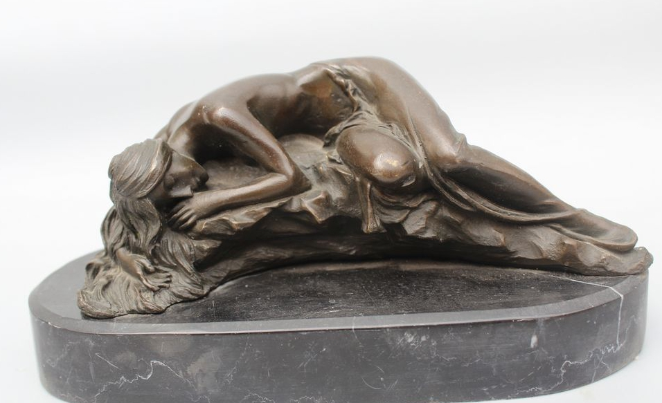 """7""""Western Art sculpture Bronze Copper oomph bronze sleep nude girl belle Statue"""