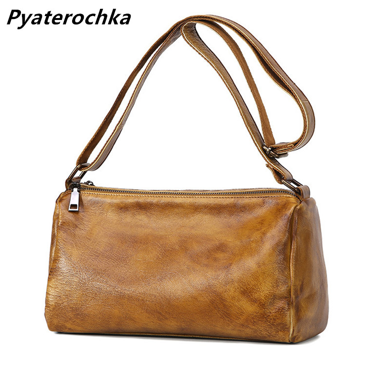 Pyaterochka Small Shoulder Bag Genuine Leather Women Messenger Crossbody Bags High Quality Luxury Flap Casual Vintage Handbags vintage canvas messenger bag high quality womens crossbody bags bend zipper design casual small flap tote bag
