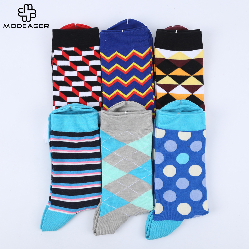 Modeager Colorful Dots Stripes Plaid Argyles Pattern Men Socks 75% Cotton Summer Thin Long  Dress Socks