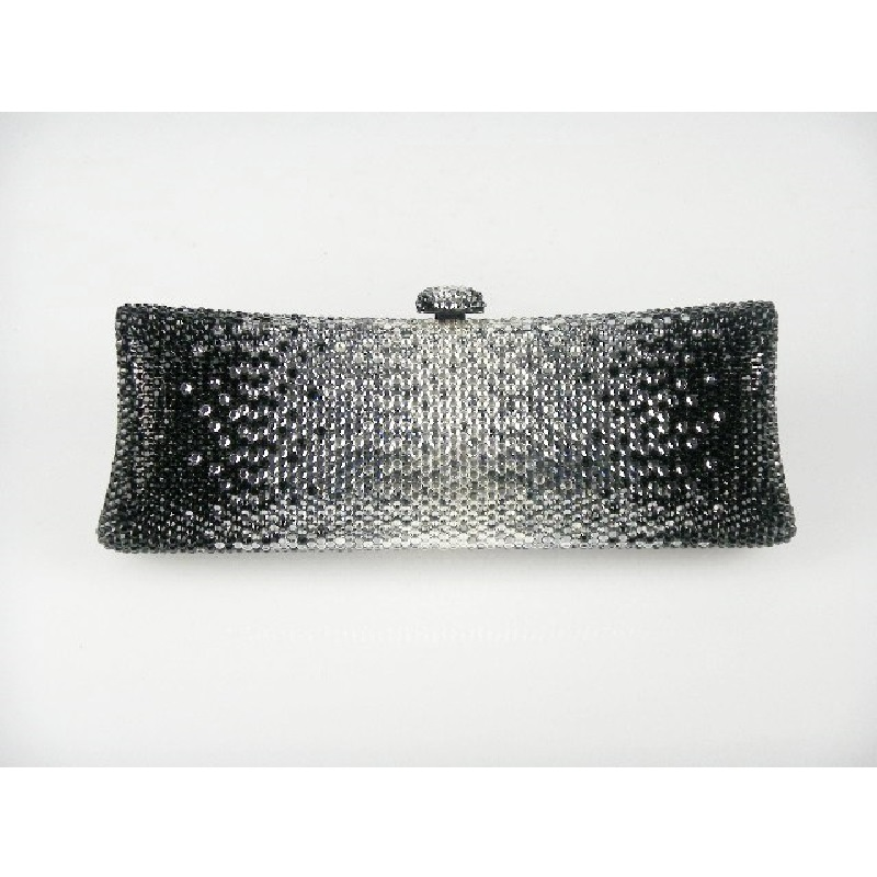 ФОТО 7757Cb Black Crystal in Gradual change effect Bridal Party Night Metal Evening purse clutch bag case box handbag