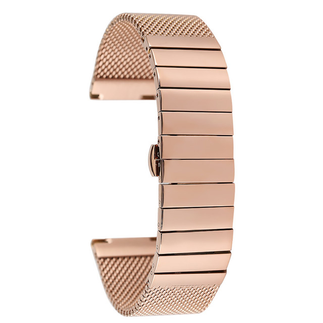 18MM 20MM 22MM 24MM Rose Gold Steel Watch Strap Premium Replacement Watches Band Practical Butterfly Buckle Wristwatch Strap | Watchbands