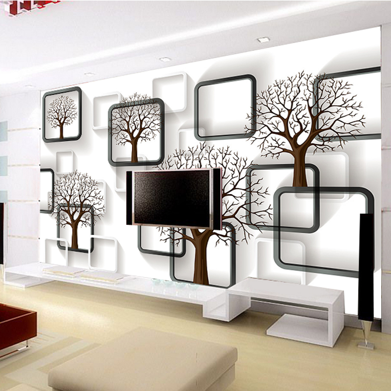 TV Background Wallpaper Cloth 3D Cubic Character And Black
