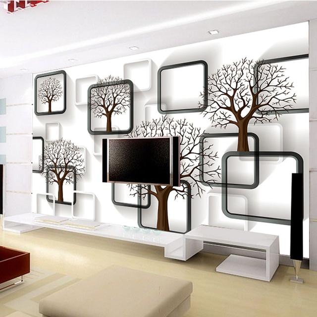 US $25.0 |TV hintergrund tapete tuch 3D cubic charakter und schwarz und  weiß box tapeten abstrakte baum wohnzimmer in TV hintergrund tapete tuch 3D  ...