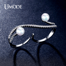 UMODE Brand New Design Vintage Simulated Pearls Micro CZ  Pave Double Finger Rings For Women Fashion Jewelry AUR0314