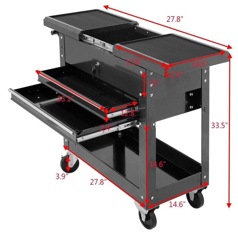 Organisateur de meuble de rangement utilitaire à glissière pour chariot à outils mécanique à roulement 2 tiroirs TL32539