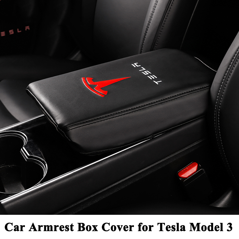 1pc New Styling Leather Center Car Armrest Box Cover Pad Cushion Logo Decoration Protector Car Accessories for Tesla Model 31pc New Styling Leather Center Car Armrest Box Cover Pad Cushion Logo Decoration Protector Car Accessories for Tesla Model 3