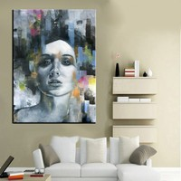 high quality Abstract 100% Handmade Modern Wall Art Picture for Home Decor Pretty Girl Oil Painting on Canvas Art Work Best Gift