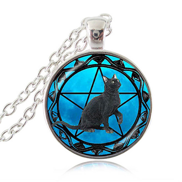 Black cat pendant wiccan necklace pentacle jewelry wicca pentagram black cat pendant wiccan necklace pentacle jewelry wicca pentagram collar blue star animal necklace best gift aloadofball Gallery