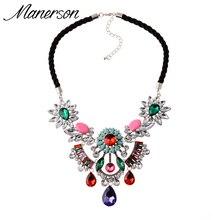2016 New ZA Fashion Flower Necklace Pendant Statement Chunky Collar Women Crystal Choker Boho Maxi Collier Femme Bijoux Jewelry