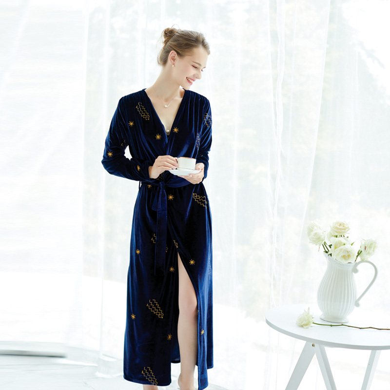 Women's Autumn And Spring Gold Thread Embroidered Velvet V-Neck Ankle-Lengh Extra Long Nightgown Robe Bathrobe Homewear Dressing