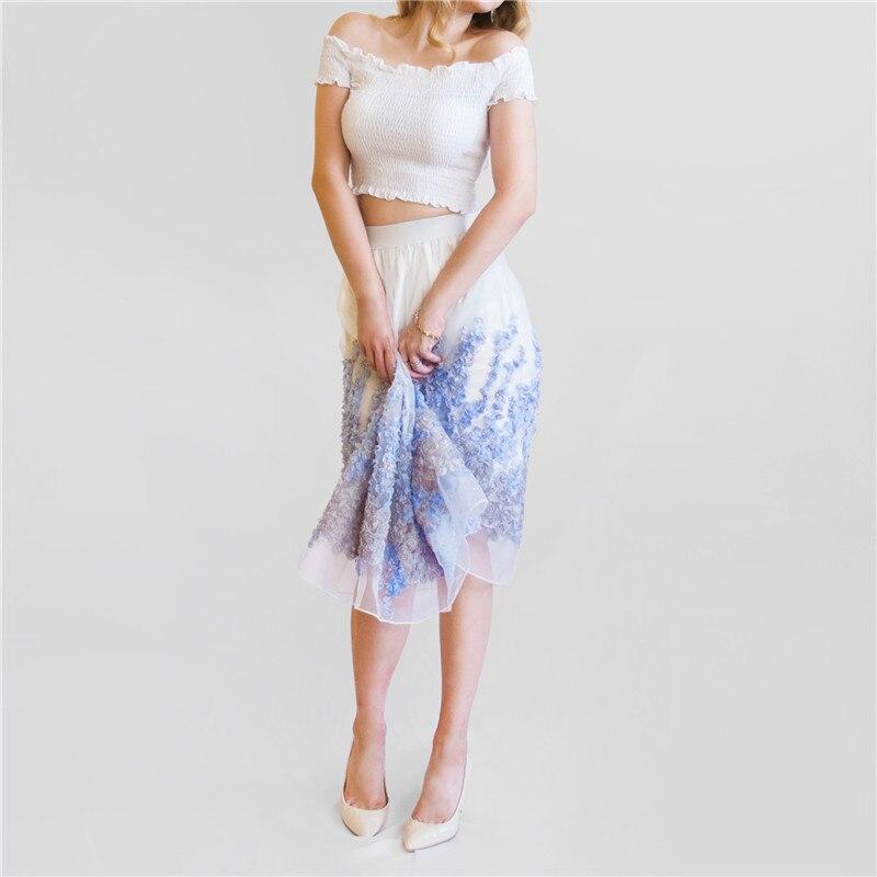 a8d207d9f € 11.6 50% de DESCUENTO 2019 nueva falda de tul de Organza para mujer falda  blanca de cintura alta Midi apliques Floral Sakter Falda Mujer tutú ...