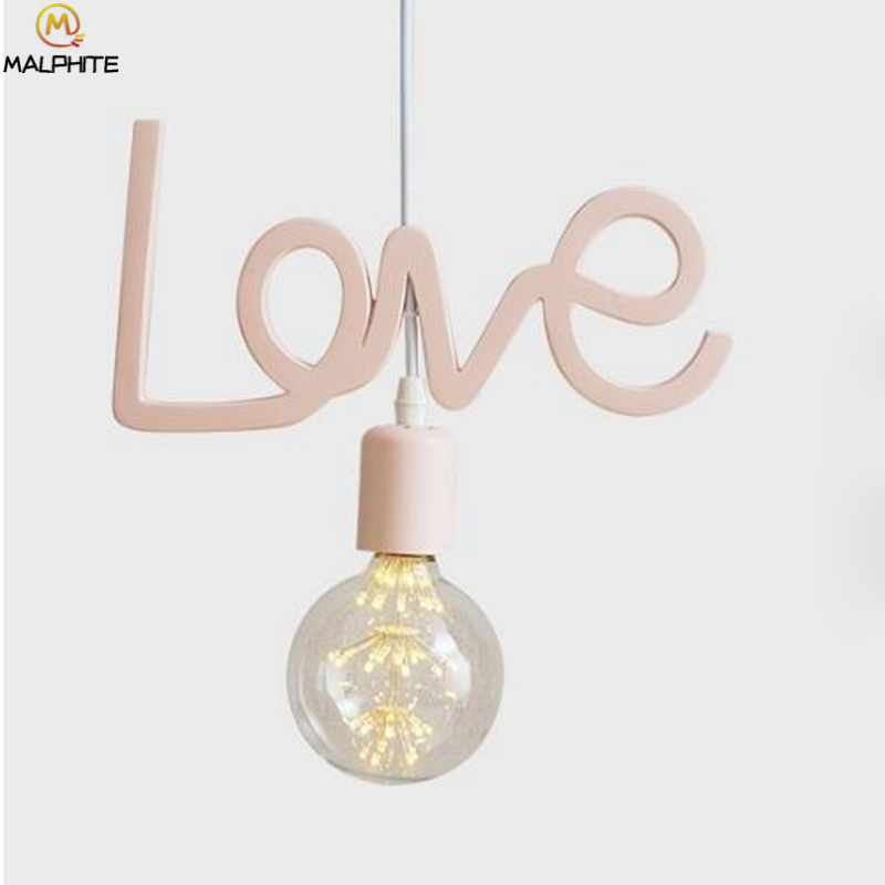Modern Korean LED Pendant Lights Princess Princess Room Pink Love Hanging Luminaire Pendant Lamp Wedding Decor Lighting FixturesModern Korean LED Pendant Lights Princess Princess Room Pink Love Hanging Luminaire Pendant Lamp Wedding Decor Lighting Fixtures