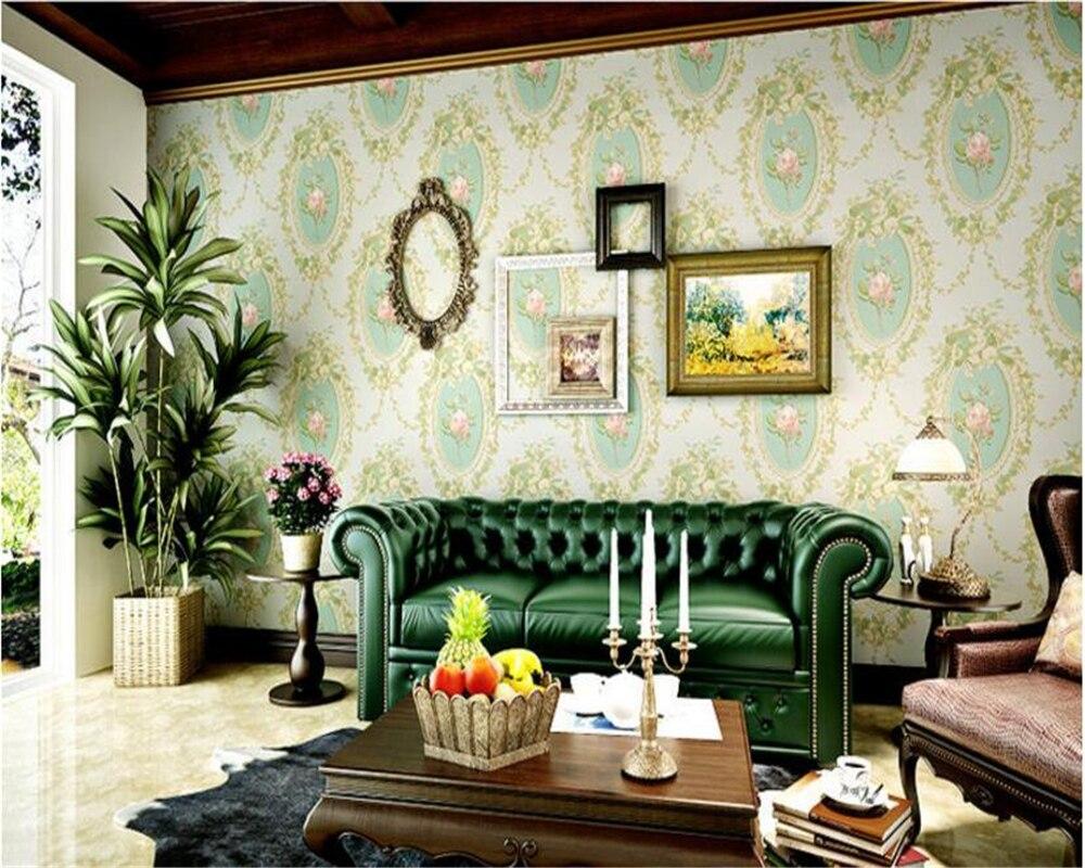 Beibehang 古典的なヨーロッパスタイルミラー花の壁紙リビングルームの
