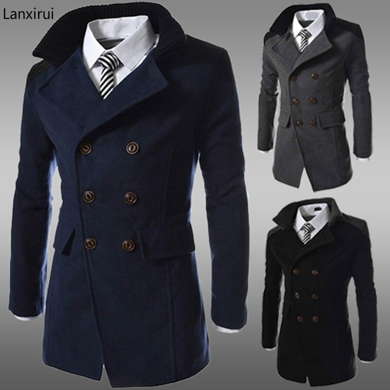 Trench-Coat Double-Breasted Long Winter Fashion Wool Brand For Men Size-3xl Blend Good-Quality