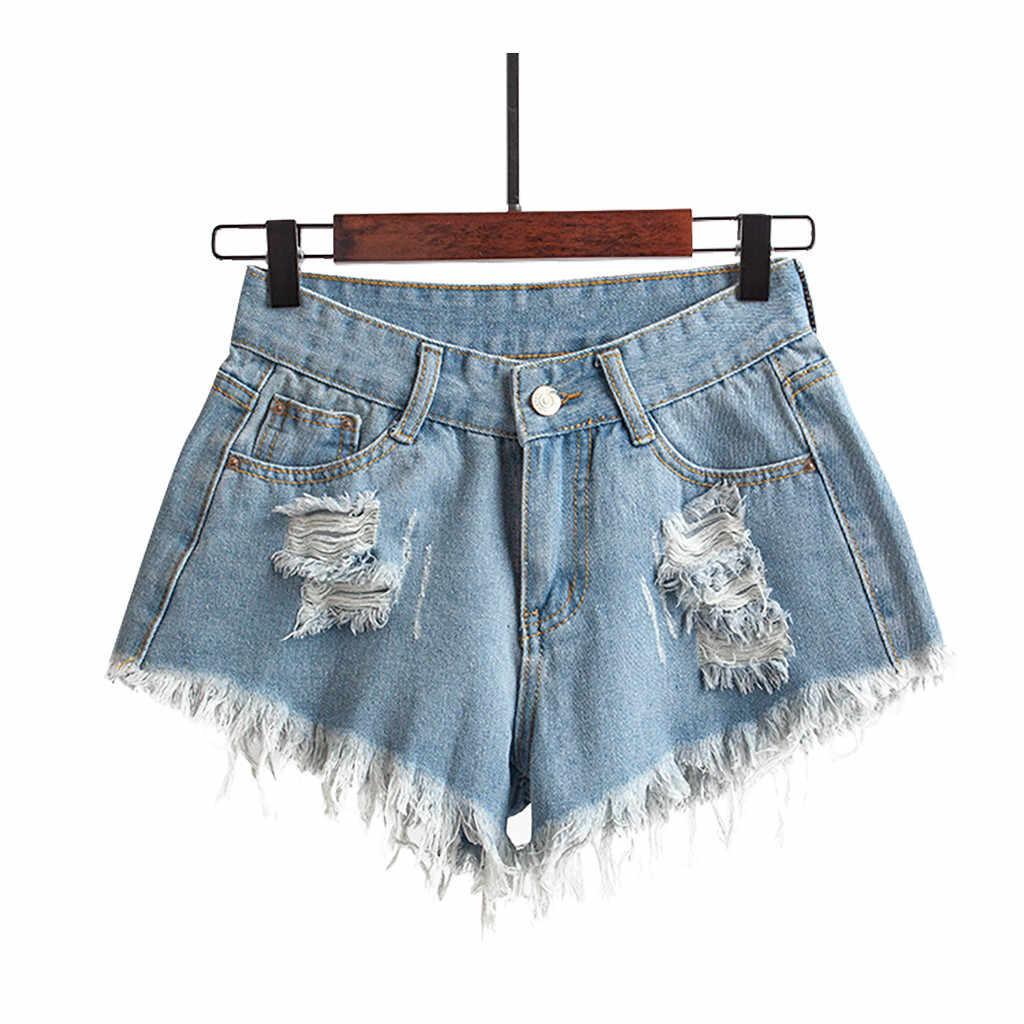 2019 wysokiej zmarnowane spodenki kieszeń na dziura dżinsy Denim kobiet mody wysokiej talii Slim Sexy krótkie pl dżinsy femme ete hot sprzedaż szorty