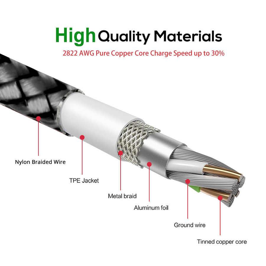 Kabel magnetyczny OLAF pleciony typu led C Micro USB magnetyczny kabel do ładowania USB dla Apple iphone X 7 8 6 Xs Max XR Samsung s9 przewód