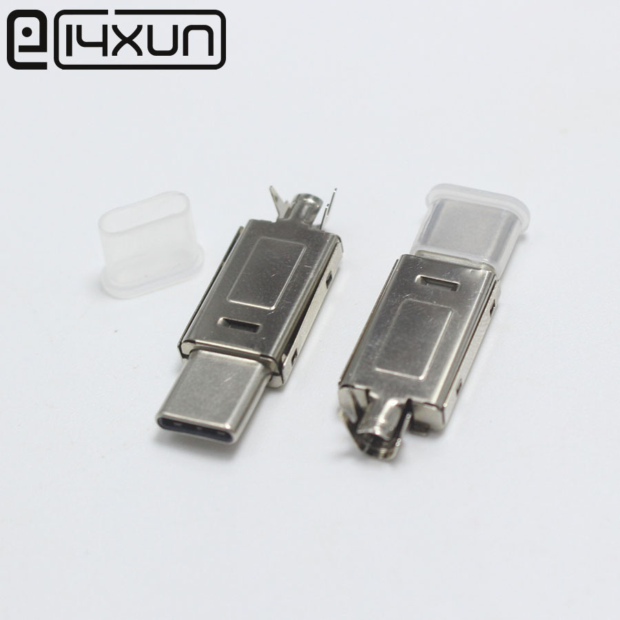 1set Full Metal USB 3.1 Type C Male Plug Welding Type For DIY Data Charging Connector For OD 3.0mm2 Cable With Dust Cover 4 In 1
