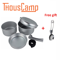 5PCS 2 3 People Outdoor Aluminum Pots Camping Cookware Set Hiking Picnic Tableware 265g