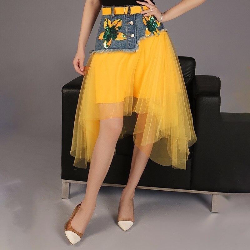 LANMREM 2019 Spring New Fashion High Waist Sequin Patchwork Denim Embroidery Asymmetrical Skirt All match Female