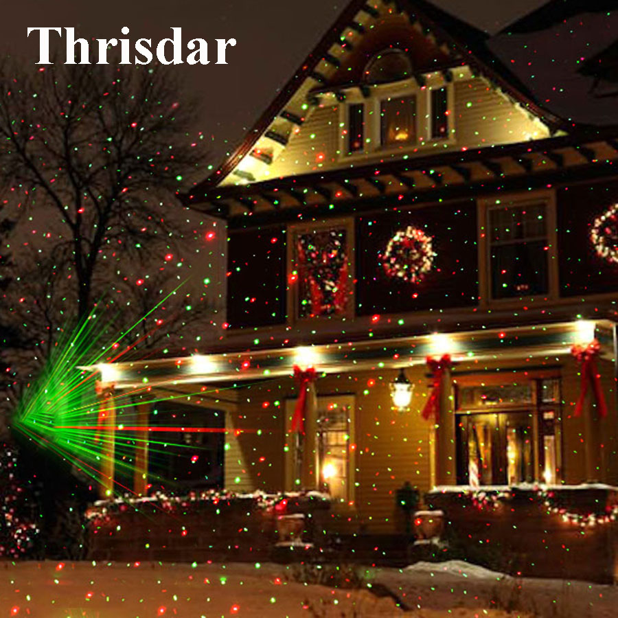 Access Control Rotate Laser Light Led Christmas Decoration Outdoor Landscape Lawn Lamp Us Plug Red & Green L