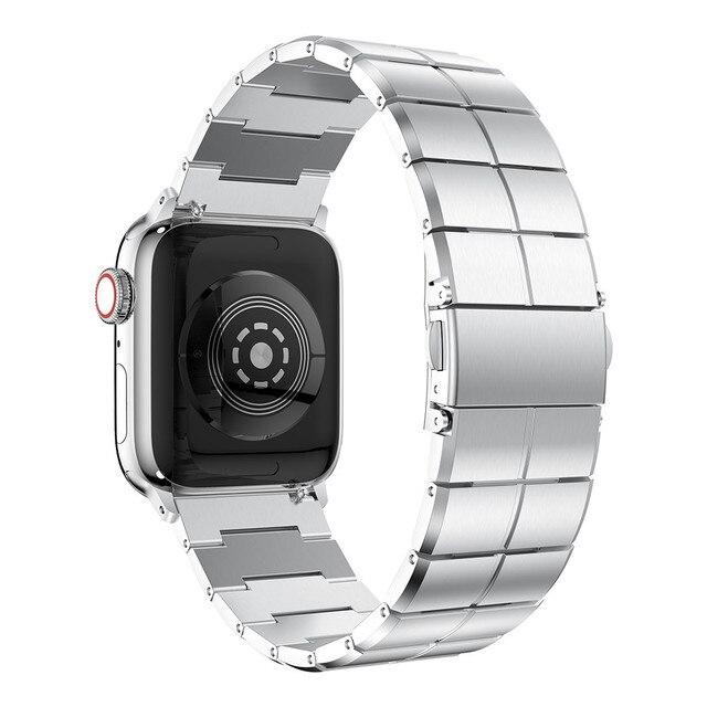 をアップル時計バンド 38/40 ミリメートル 42/44 ミリメートルのステンレス鋼金属 1 リンクブレスレットスマートウォッチバンドアップル腕時計まま続け 1 2 3 4 5